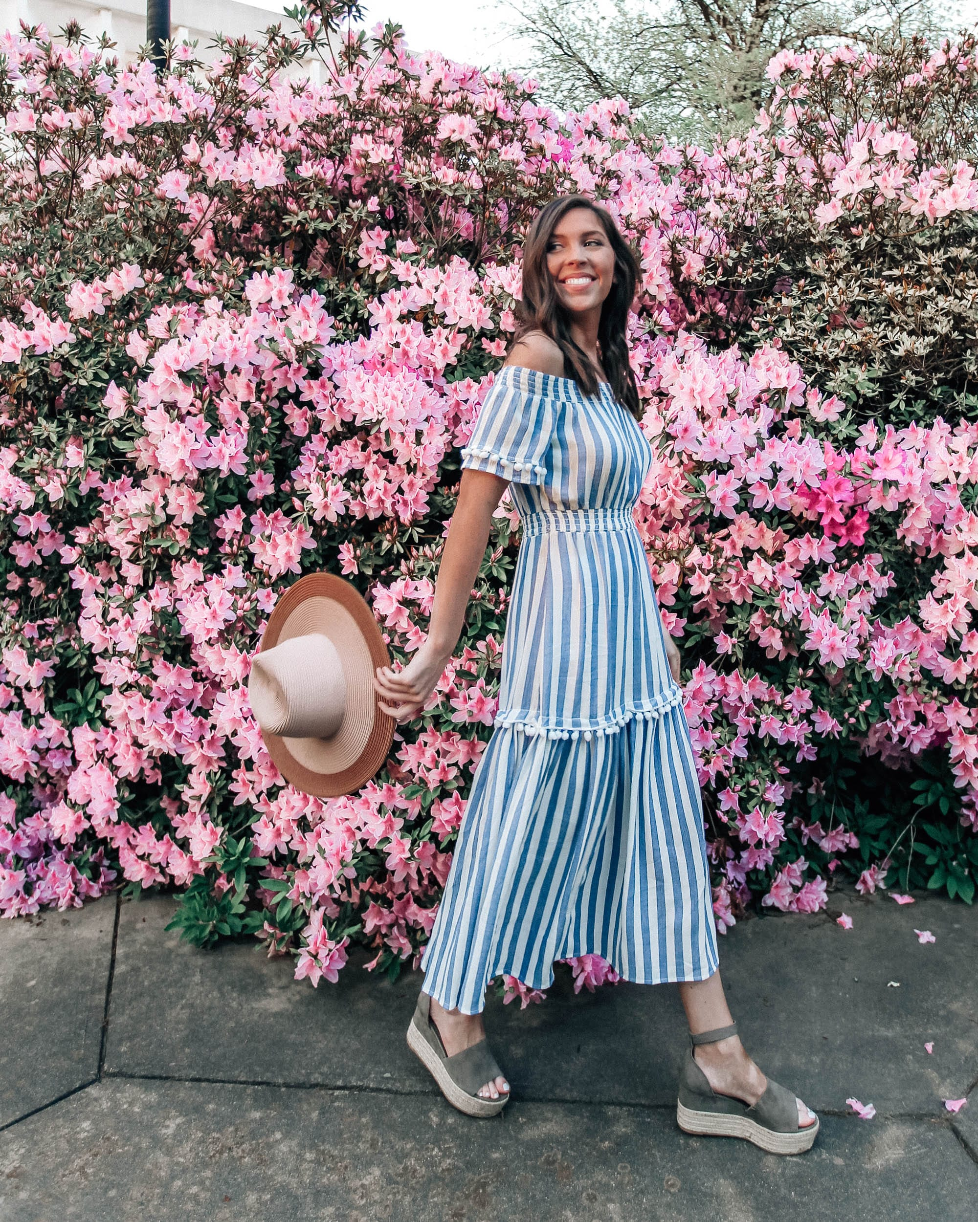 f8a25d46a51 Striped Midi Dress Blue White for Spring - Pretty in the Pines Style ...