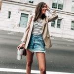tan blazer distressed denim shorts, pretty in the pines north carolina lifestyle blog