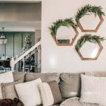 wooden hexagon mirrors with garland